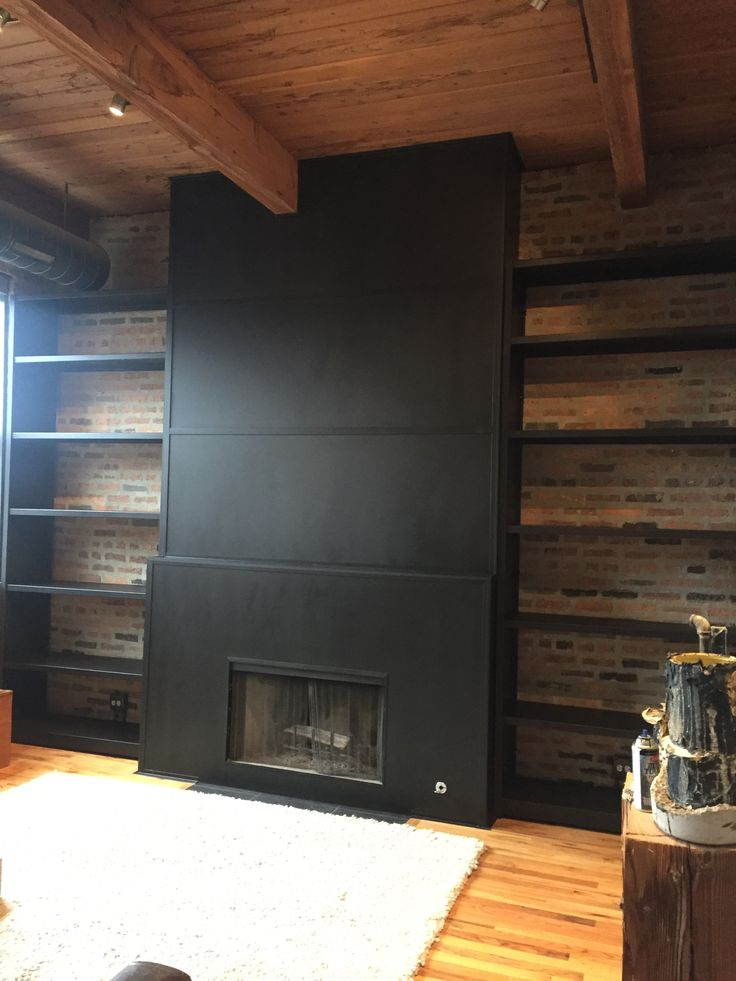 Steel clad fireplace we created for a residential customer