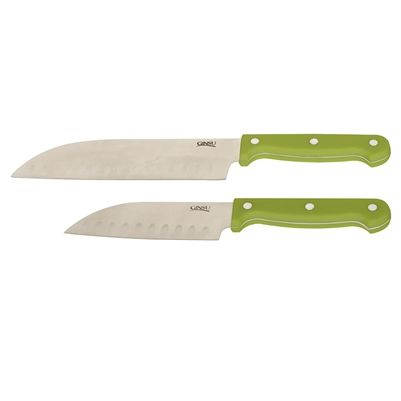The traditional Asian-style angle of these 5' and 7' lime green-handled Santoku knives makes them perfect for prep work on large and small foods.
