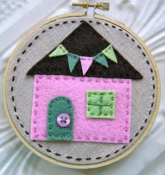 Embroidered Wall Art - Little Felt House in Pink Green and Chocolate on Linen - No Place Like Home Series  $15
