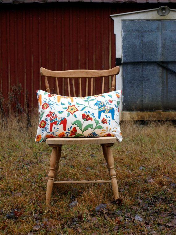 Pillow cover  Swedish traditional Dalarna  by travelingpillow, $36.00
