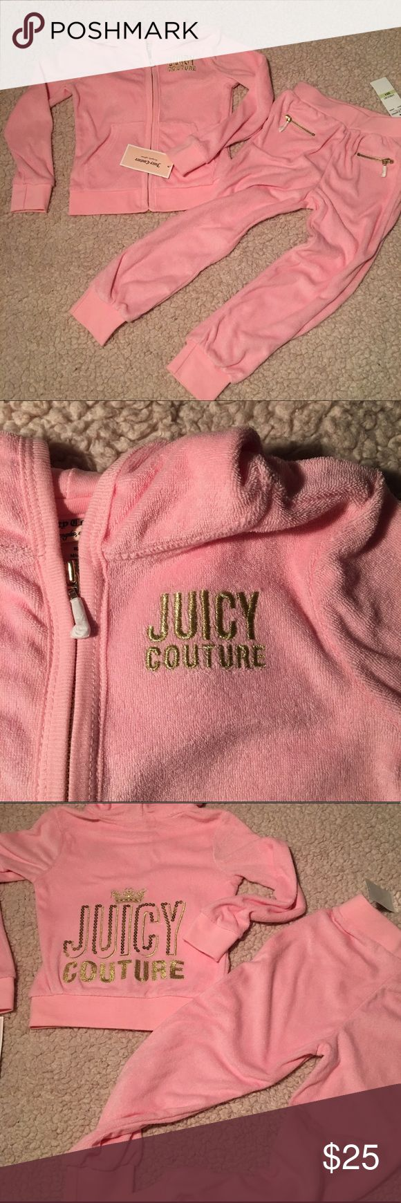 Little Girls Juicy Sweatsuit Juicy Couture velour sweatsuit. Pink with gold writing. So cute! Juicy Couture Matching Sets