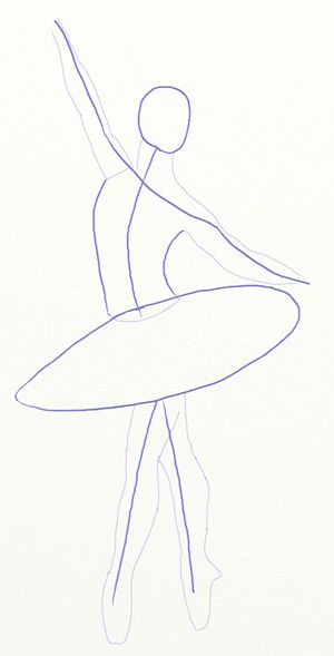 How to Draw a Ballerina, step 3