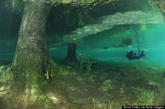 "Bucket List - scuba dive in the summer when Grüner See (""Green Lake"" in English) rises over the park-turned-lake just below Austria's Hochschwab mountains near the town of Tragoess."