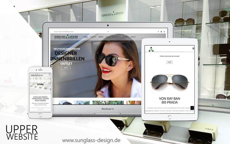 Sunglass Design beauftragte Upper Website mit der Gestaltung der neuen Website nach Eröffnung des ersten Stores im Rhein-Center Köln Weiden.