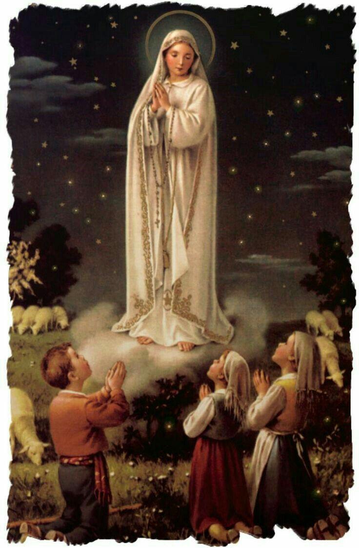 Virgen de Fatima con los tres pastorcitos.