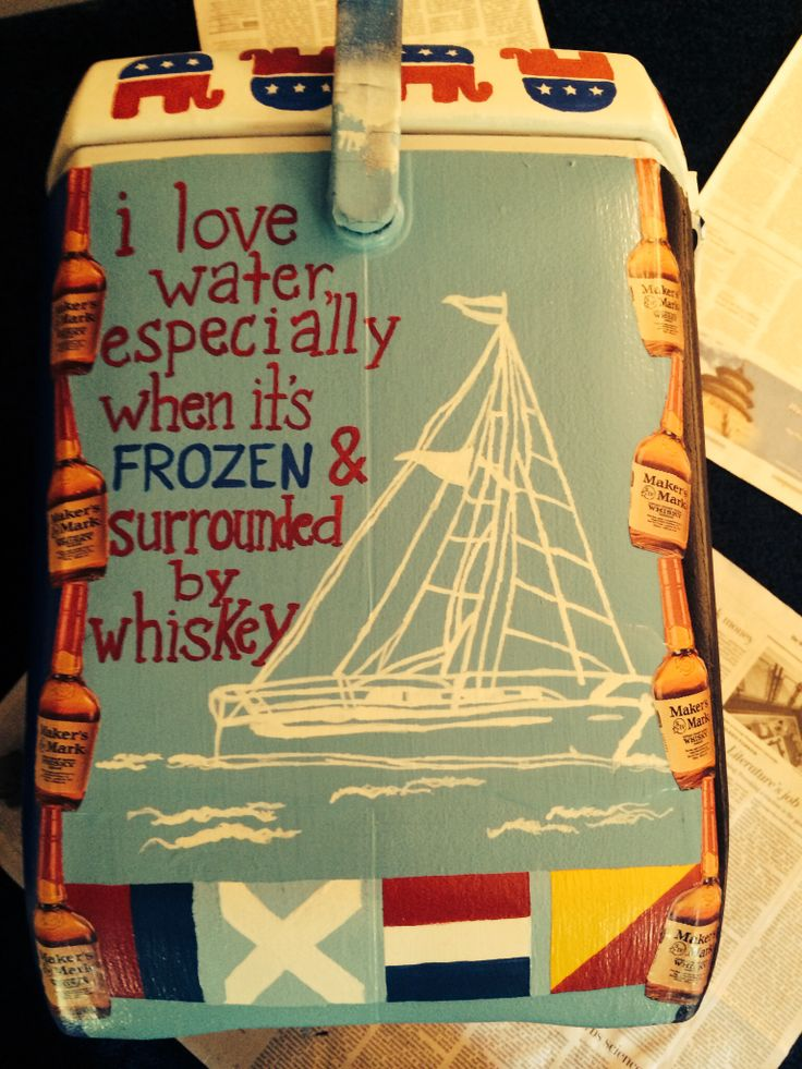 Painted cooler. Sail boat and Maker's Mark