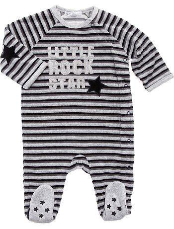 Pyjama velours rayé                                                                                          gris chiné Bébé g...
