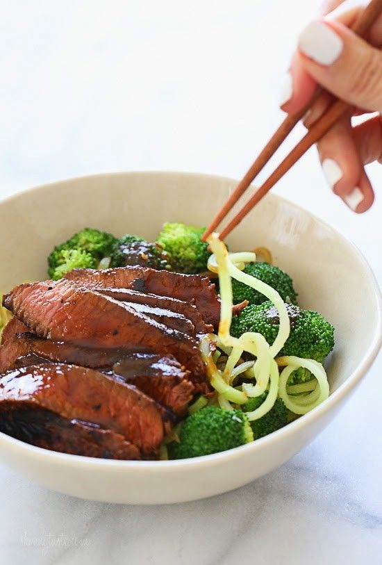 Marinated sirloin steak with broccoli and spiralized broccoli noodles in a delicious hoisin sauce. This dish is out-of-this-world good, and so filling I couldn't even finish it! You NEED this in your life!     Here's the deal, you know those broccoli stems you usually throw out? Well you can spiralize them and use them in place of noodles in dishes like this easy Asian stir fry for a low-carb alternative to noodles. There's lots of spiralizers out there and I'm often asked which I use, I…