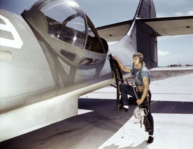 "Crewman preparing to board a PBY ""Catalina"""