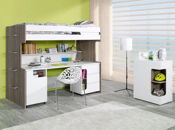 """Hochbett / Funktionsbett mit Schreibtisch """"Skydra"""" - Abmessungen: 90 x 190 cm"""