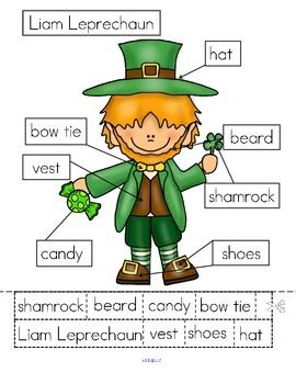 ***FREE*** 3 ways to label Liam Leprechaun:- cut and paste written labels on top of words; - cut and paste written labels on blank labels; - or write the words in the blank labels.