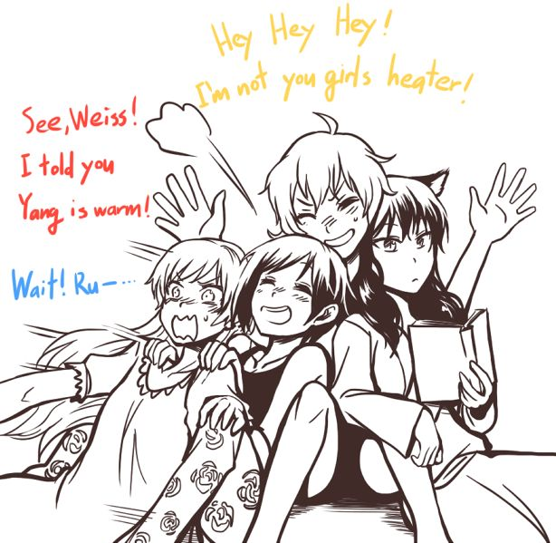 Team RWBY. She burns...gold. I'll keep you safe and warm