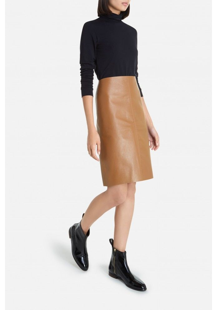 Upcycled Tan Leather Skirt via THE-ACEY