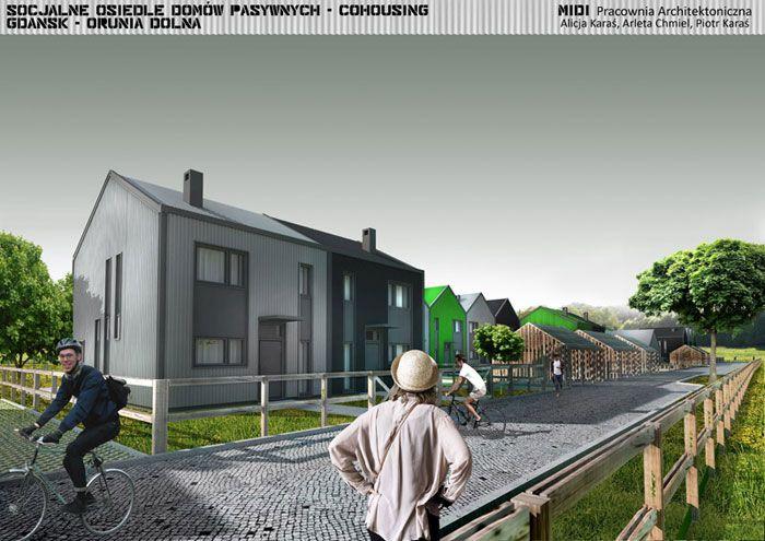Socjalne osiedle mieszkaniowe typu 'Cohousing'. Projekt: Pracownia Architektoniczna MIDI