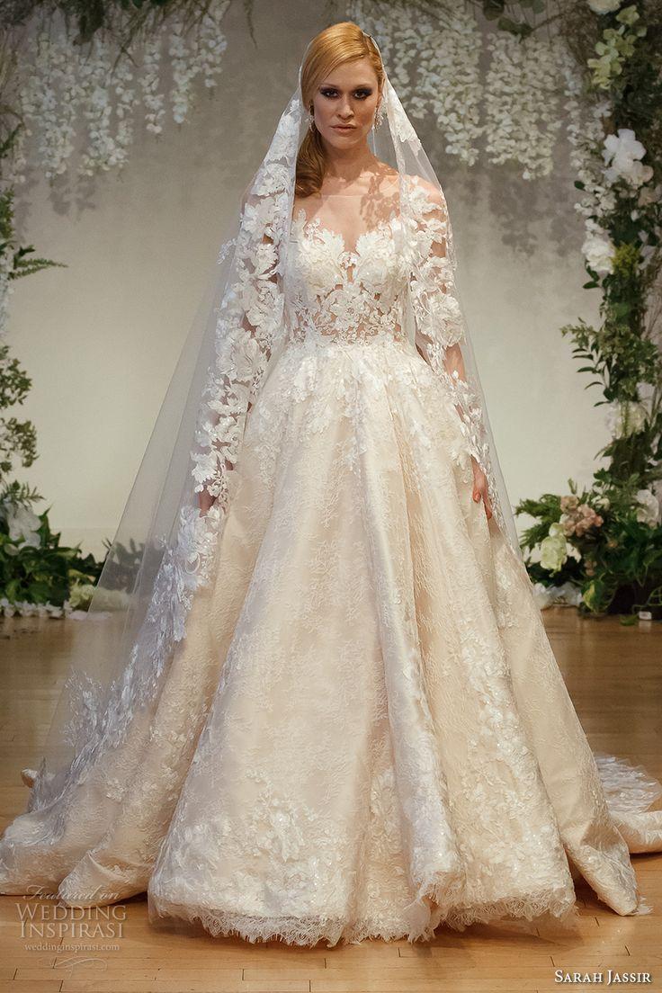 2017 sans manches de mariée l'illusion de sarah cou décolleté amie princesse corsage fortement embelli robe boule ronde une pure robe de mariée de la ligne arrière train chapelle (15) mv