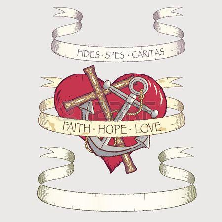 Antieke rollen met cross anker en hart Alle objecten kunnen afzonderlijk worden gebruikt  Stockfoto