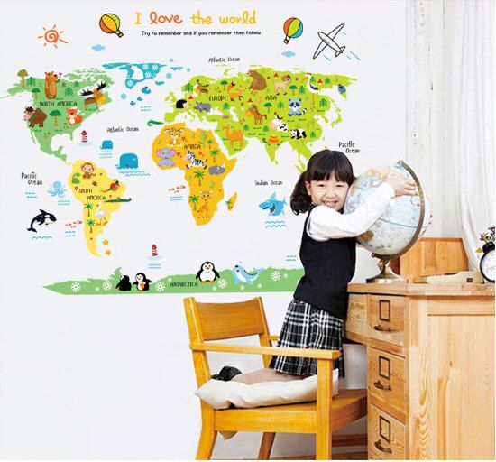 Kids world map sticker, world map  animal wall decal, Kid's room decoration, Kid's wall decall by LovelyHomeDecals on Etsy https://www.etsy.com/listing/268070325/kids-world-map-sticker-world-map-animal