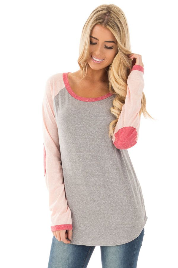Lime Lush Boutique - Grey Baseball Long Sleeve Tee with Rose Elbow Patches, $34.99 (https://www.limelush.com/grey-baseball-long-sleeve-tee-with-rose-elbow-patches/)