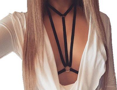 Sexy Black pastel goth O Metal ring Deep V Neck Choker underbust elastic body bandage chest harness lingerie bra strap top
