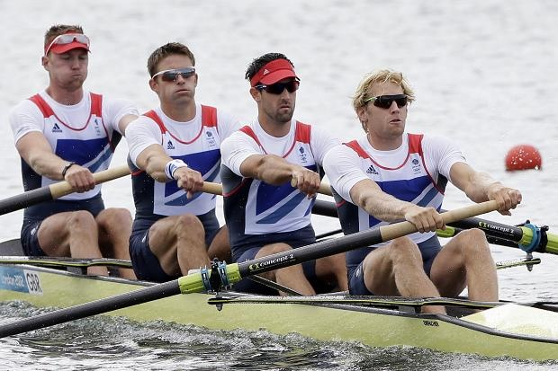 Great Britain's Coxless four, from right, Andrew Triggs Hodge, Tom James, Pete Reed and Alex Gregory. Gold medal