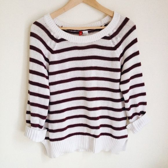 sale | maroon striped sweater • pre-loved • size 8, fits like a medium on me! • no trades or pp please :) H&M Sweaters Crew & Scoop Necks