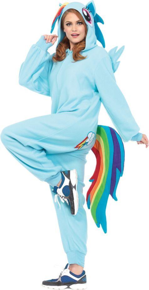 Adult Rainbow Dash One-Piece Pajamas Costume - My Little Pony - Party City
