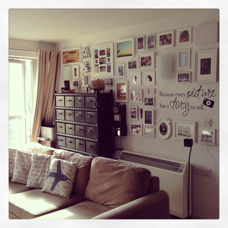 Photo frame wall and filing cabinet