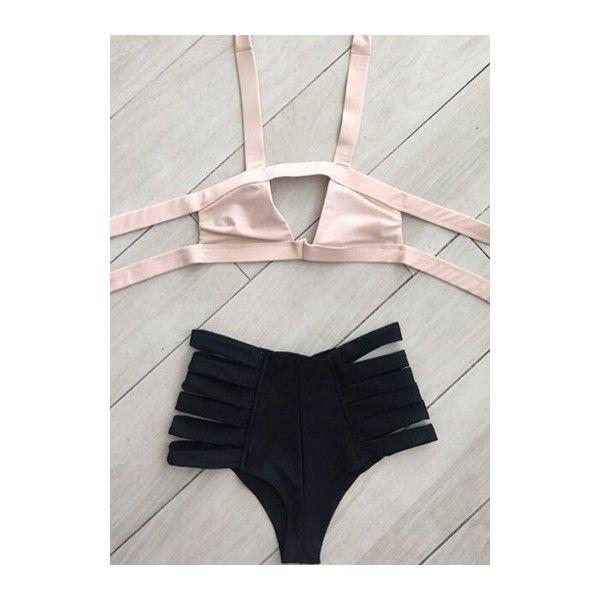 Rotita High Waist Padded Cutout Design Bikini ($24) ❤ liked on Polyvore featuring swimwear, bikinis, pink, bikini two piece, pink high waisted bikini, cut out bikini, print bikini and pink swimwear