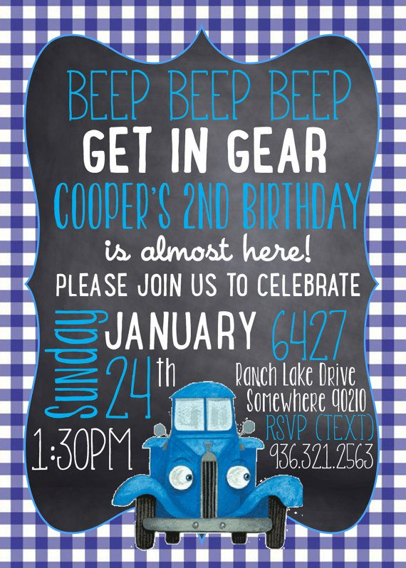 BEEP, BEEP, BEEP! Enjoy this The Little Blue Truck themed birthday Invitation! Please provide information needed for editing. Image will be