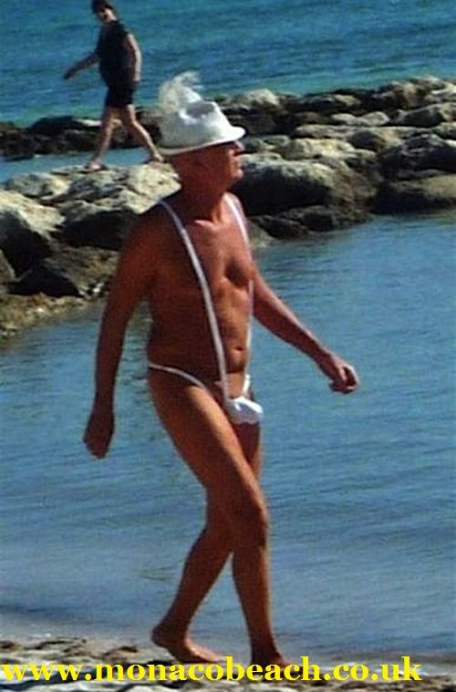 Don't....please just don't. Men are not immune to making disastrously bad 'beach fashion choices' too. It's a beginner's error to think that wearing something overly skimpy will make you look younger or more fashionable! This (home-made??) outfit attracts attention on the beach for all the wrong reasons.