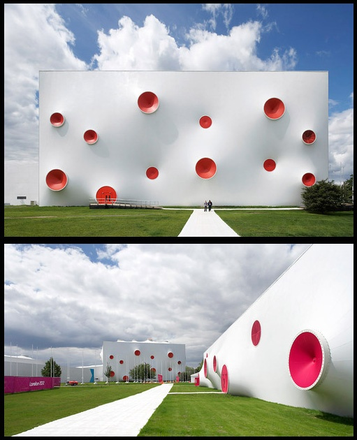 The London 2012 Olympic Shooting Venue, based at the Royal Artillery Barracks. Temporary, fully mobile, easily dismantled.  Designed by Magma Architecture.