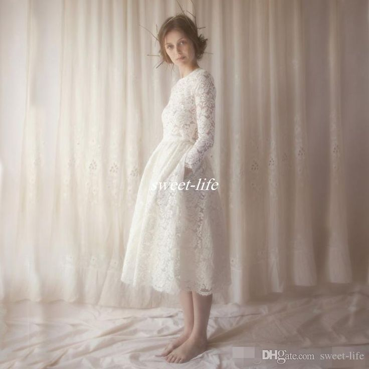 2016 Spring Summer Short Tea Length Wedding Dresses Vintage Lace Crew Neck with Pockets Long Sleeves Bridal Gowns Custom Made High Quality Online with $103.67/Piece on Sweet-life's Store | DHgate.com