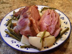 "A favorite ""vintage"" recipe. Hard to find the ham out in the west.  cottage ham with green beans and potatoes   GREAT MEMORIES :)"