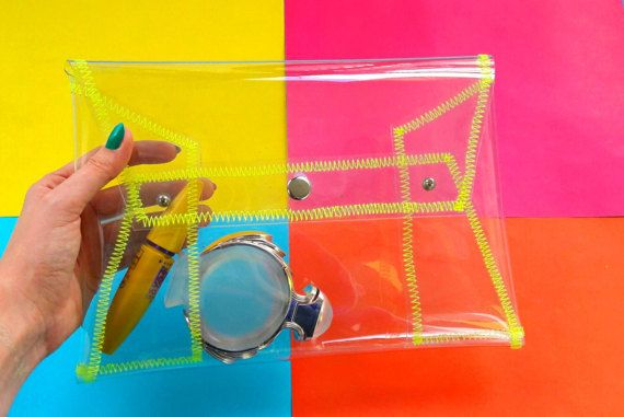 Transparent purse with yellow neon stitch original design for