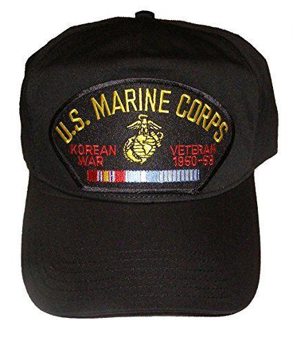 U.S. MARINE CORPS KOREAN WAR Veteran Hat with ribbons and Marine Corps Crest Cap - BLACK - Veteran Owned Business