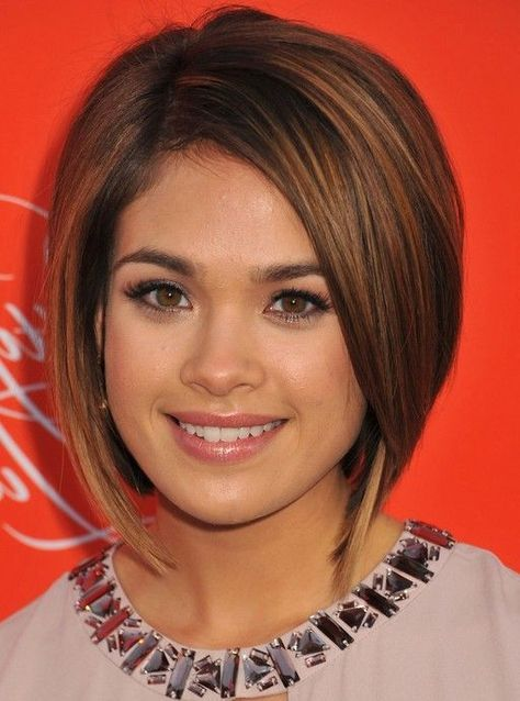 Cute Short Bob Haircuts | Nicole Gale Anderson Cute Short Graduated Bob Haircut for Round Faces ...