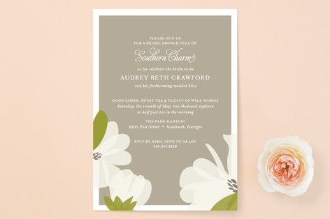 """Southern Magnolia"" - Formal, Hand Drawn Bridal Shower Invitations in Taupe by toast & laurel."
