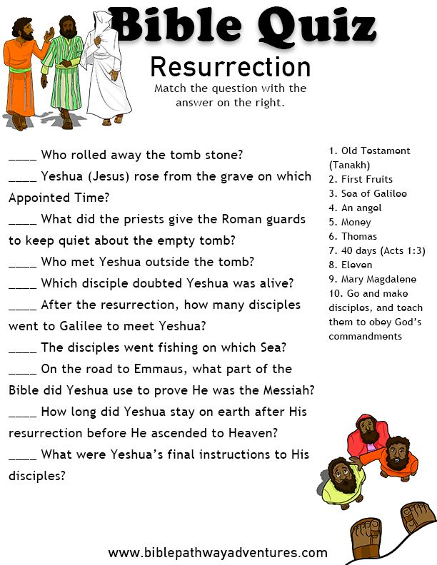 Printable bible quiz - Resurrection