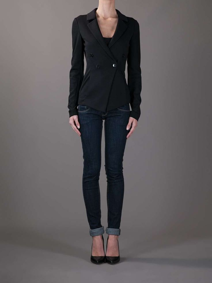 Emporio Armani Fitted Blazer Womens Fitted Black  -8723