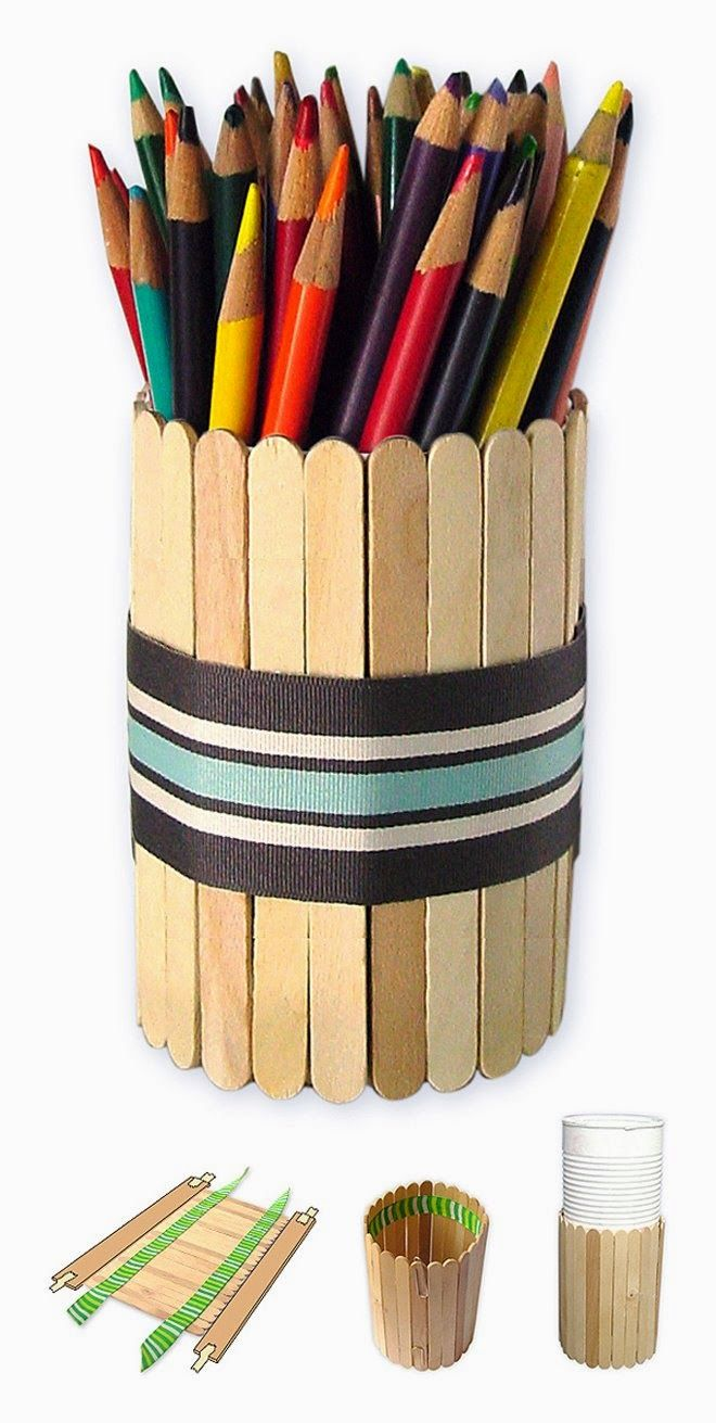 Art Projects for Kids: Father's Day Pencil Holder, craft, recycle, elementary school, primary school, popsicle, knutselen, kinderen, basisschool, ijsstokje, vaderdag, tutorial