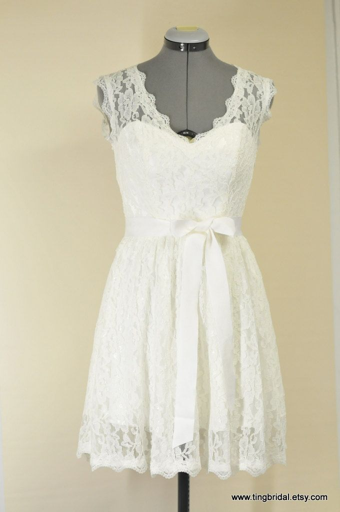 Karen custom short lace wedding dress inspired by vintage for Country style lace wedding dress