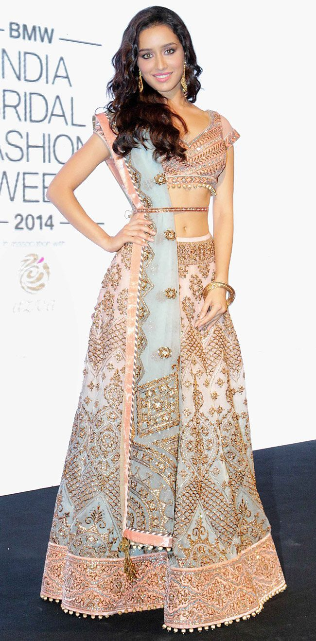 Shraddha Kapoor looked ethereal in a beautiful pastel bridal lehenga at the logo launch of BMW India Bridal Fashion Week 2014 in New Delhi.