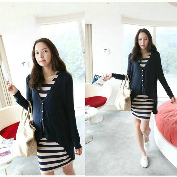 2016 vêtements de maternité mode printemps irrégulière cardigan + stripe maternité robe twin - set pour les femmes enceintes élégante corée robe(China (Mainland))