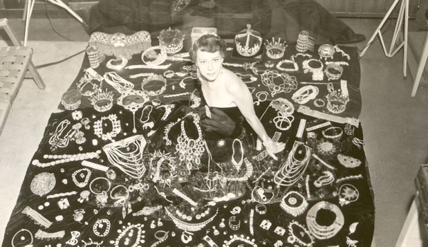 Joan Castle Joseff, 1912-2010.  Pictured with a few of the 3 million pieces of jewellery made by Joseff of Hollywood for the movies.