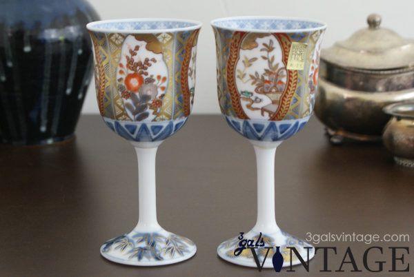 Vintage Japanese Porcelain Wine Goblets, Hand Painted, Gold Filigree Detail. $35.00