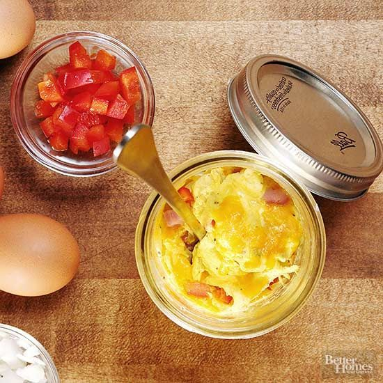 Reclaim the weekday omelet. Mix eggs, cheese, and desired toppings in a Mason jar, then microwave. If you're in a big rush, the mixture can be made two days in advance and refrigerated. #breakfast #omelet #recipe