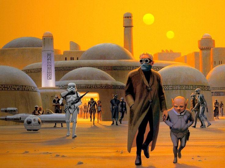 McQuarrie desenhou muitos dos personagens, incluindo Darth Vader, Chewbacca, R2-D2 e C-3PO. | A arte conceitual original de Guerra nas Estrelas é incrível