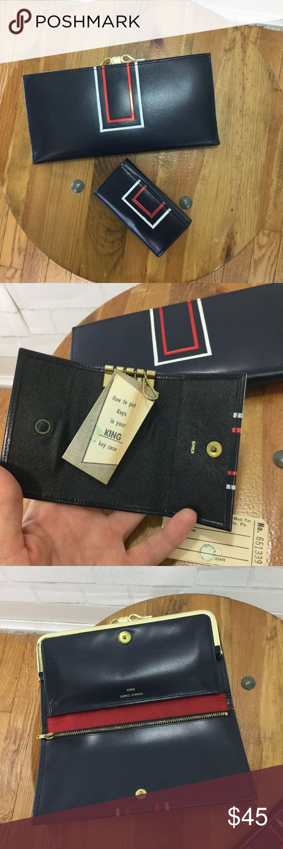 """Vintage 60's Deadstock Leather Wallet w/ Key Case Stunning, never used Wallet with the key holder. Perfect condition, no bad smells. Stamped King Saddle Cowhide, it's navy blue and has metallic red accent and a white accent with gold Hardware. 7.25""""W x 3.5""""H Vintage Bags Wallets"""