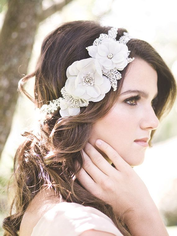 Last Piece Floral Lace Headpiece Wedding Beaded Headband Silk