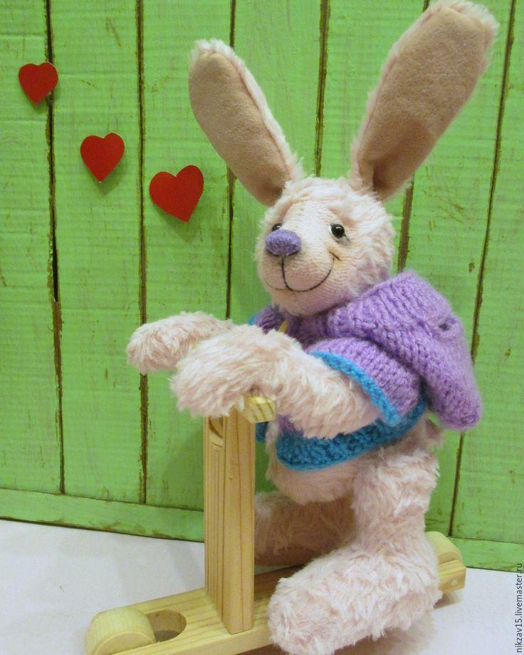 Купить Зайка Санька - бледно-розовый, заяц, зайка, тедди, тедди заяц, заяц тедди